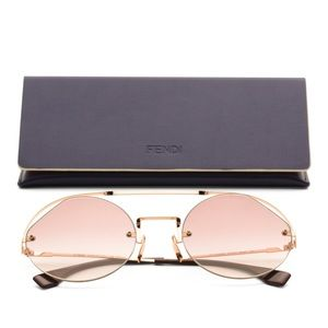 Fendi Cyclamen Metal Round Sunglasses Pink Gradien